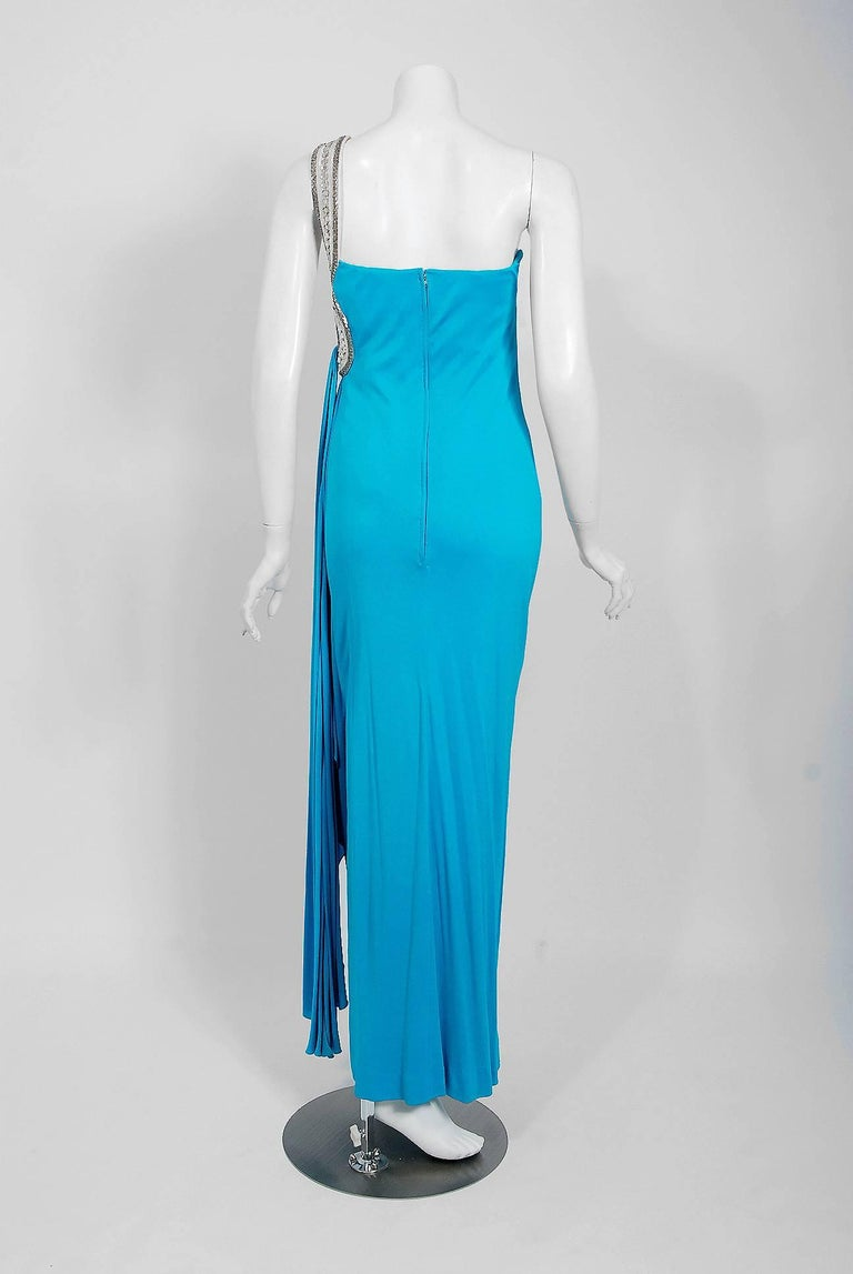 1986 Travilla Couture Whitney Houston Design Blue Beaded One-Shoulder Silk Gown For Sale 4