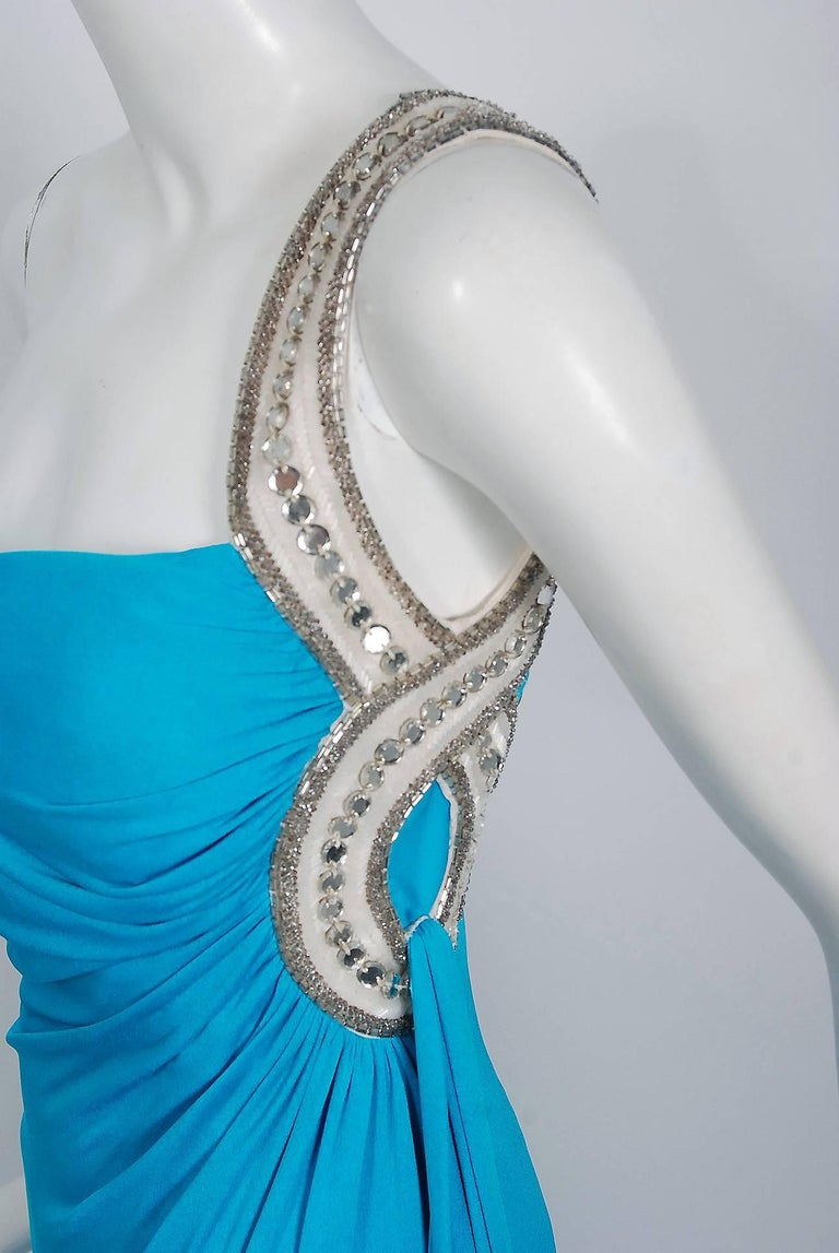 1986 Travilla Couture Whitney Houston Design Blue Beaded One-Shoulder Silk Gown For Sale 1