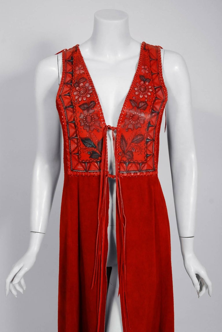 1970 S Char Handpainted Red Leather Suede Whipstitch