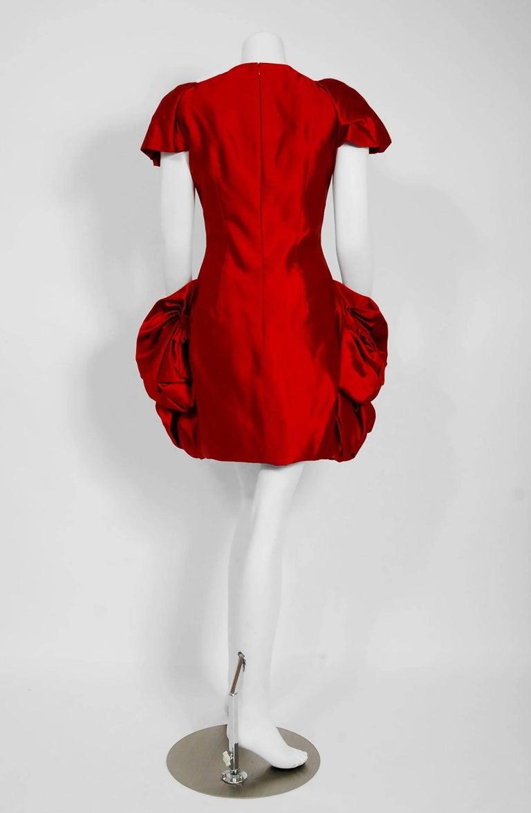 2010 Alexander McQueen Final Runway Collection Red Satin Metallic Bullion Dress For Sale 4