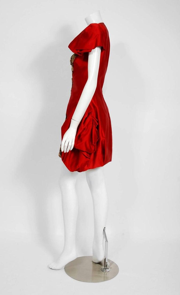 2010 Alexander McQueen Final Runway Collection Red Satin Metallic Bullion Dress For Sale 3