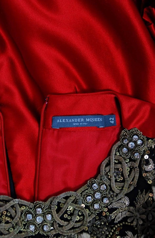 2010 Alexander McQueen Final Runway Collection Red Satin Metallic Bullion Dress For Sale 5