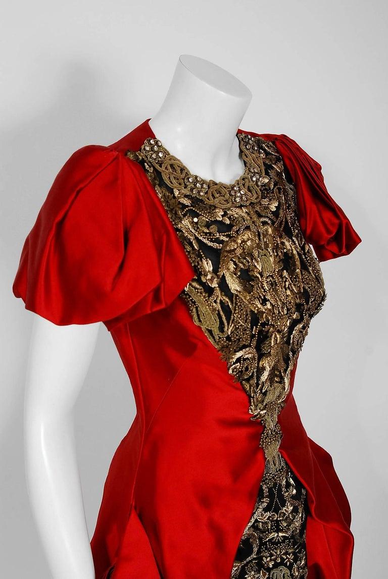 Women's 2010 Alexander McQueen Final Runway Collection Red Satin Metallic Bullion Dress For Sale