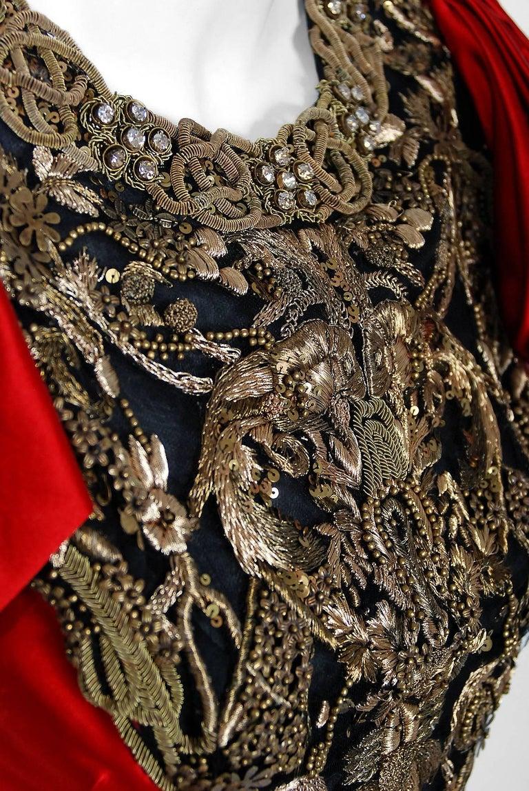 2010 Alexander McQueen Final Runway Collection Red Satin Metallic Bullion Dress For Sale 2