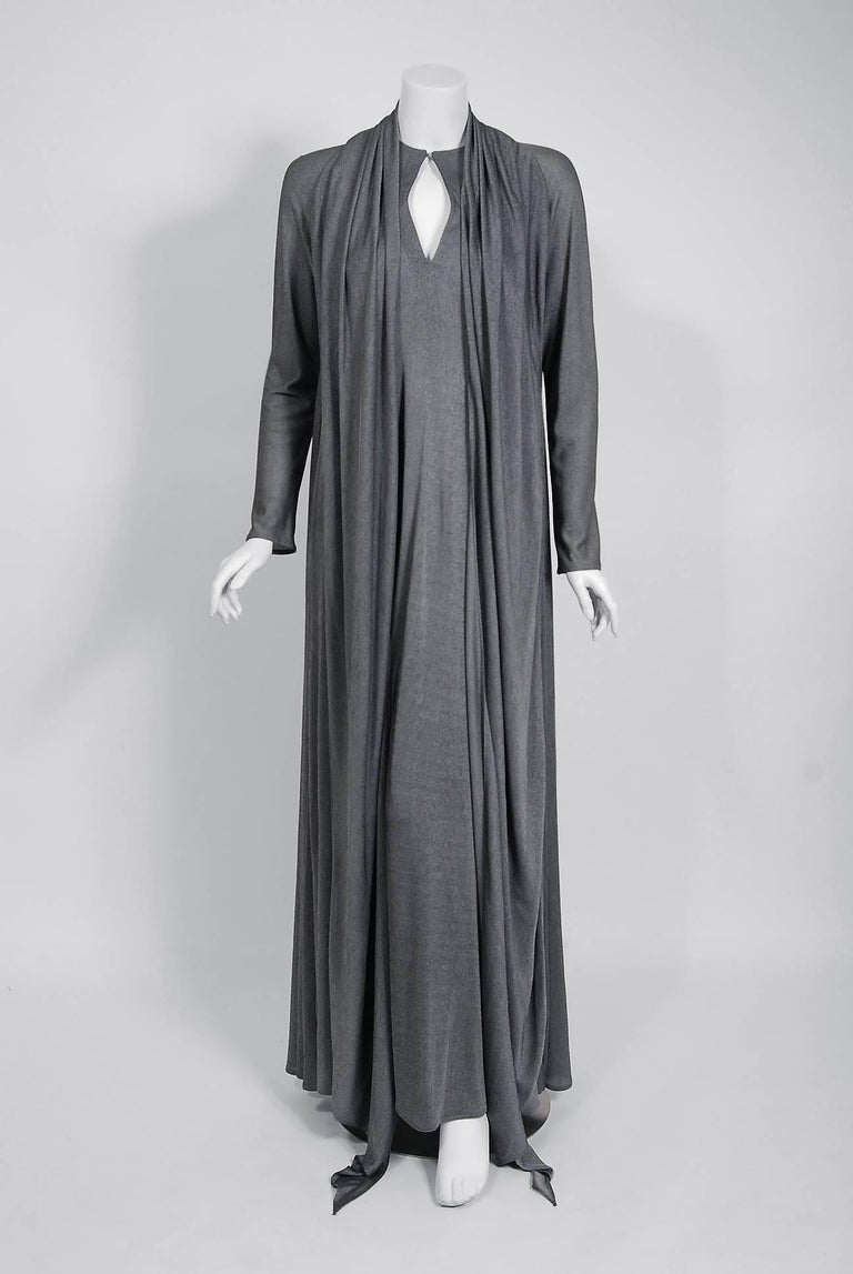 Women's Geoffrey Beene Charcoal Silk Jersey Draped Scarf High Slit Maxi Dress, 1990s  For Sale