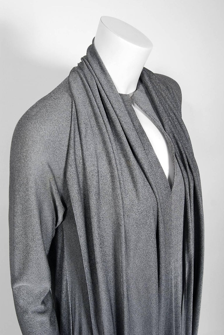 Gray Geoffrey Beene Charcoal Silk Jersey Draped Scarf High Slit Maxi Dress, 1990s  For Sale