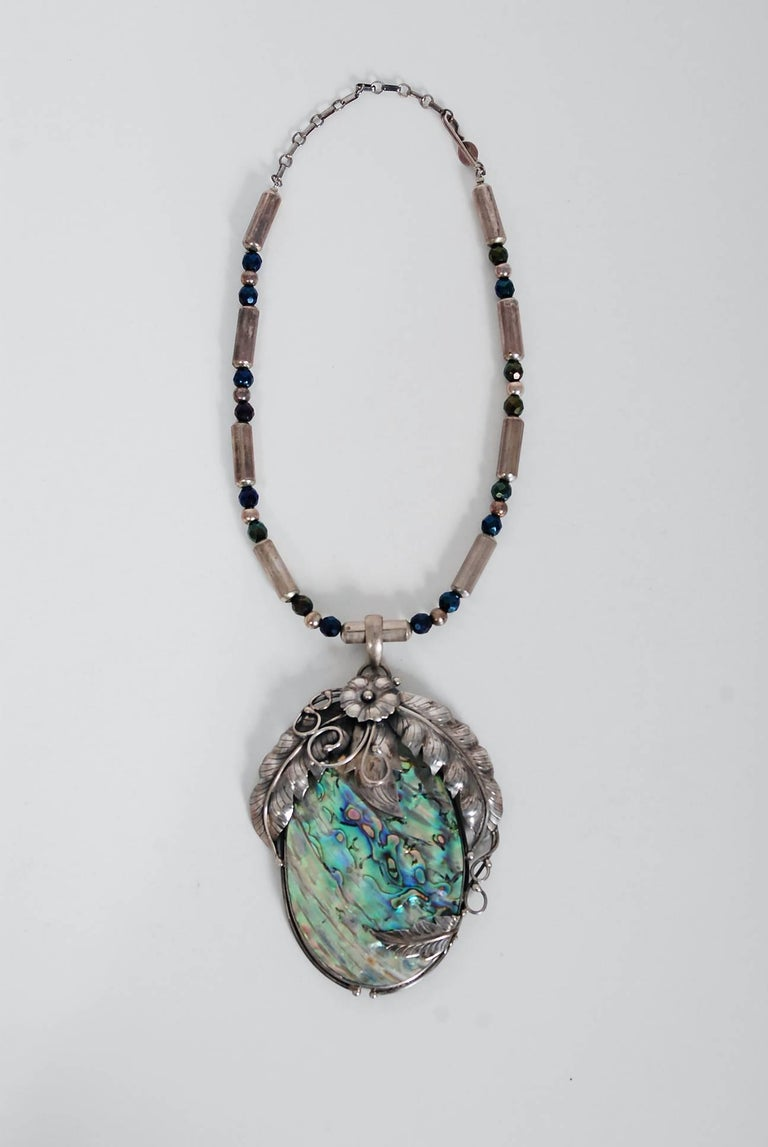 Vintage 1970's Native American Abalone Sterling Silver Feather Motif Necklace For Sale 2