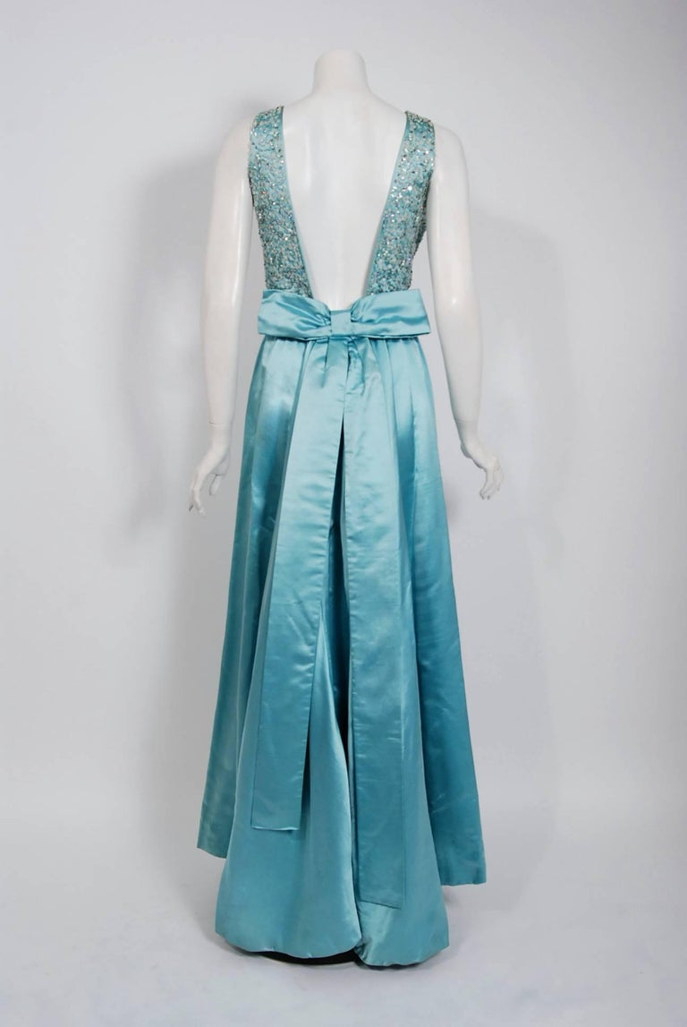 Women's 1961 Charles Cooper Couture Aqua-Blue Beaded Satin Backless Gown & Coat Ensemble For Sale