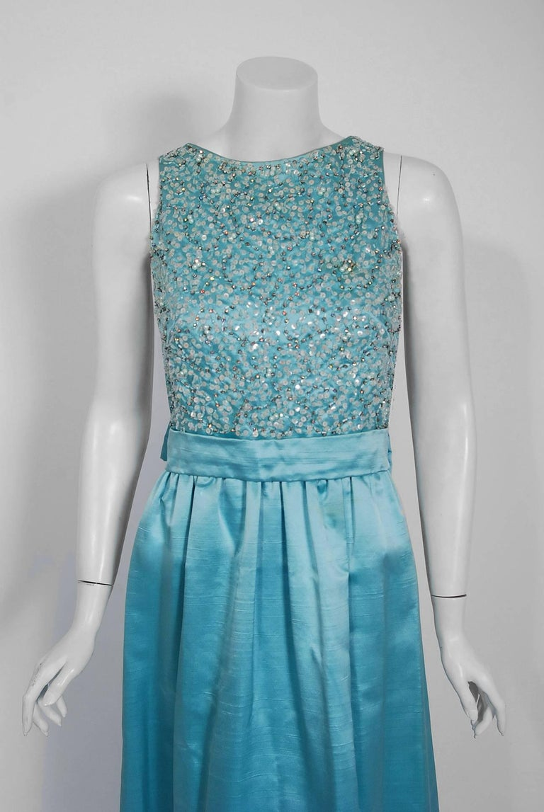 1961 Charles Cooper Couture Aqua-Blue Beaded Satin Backless Gown & Coat Ensemble For Sale 4