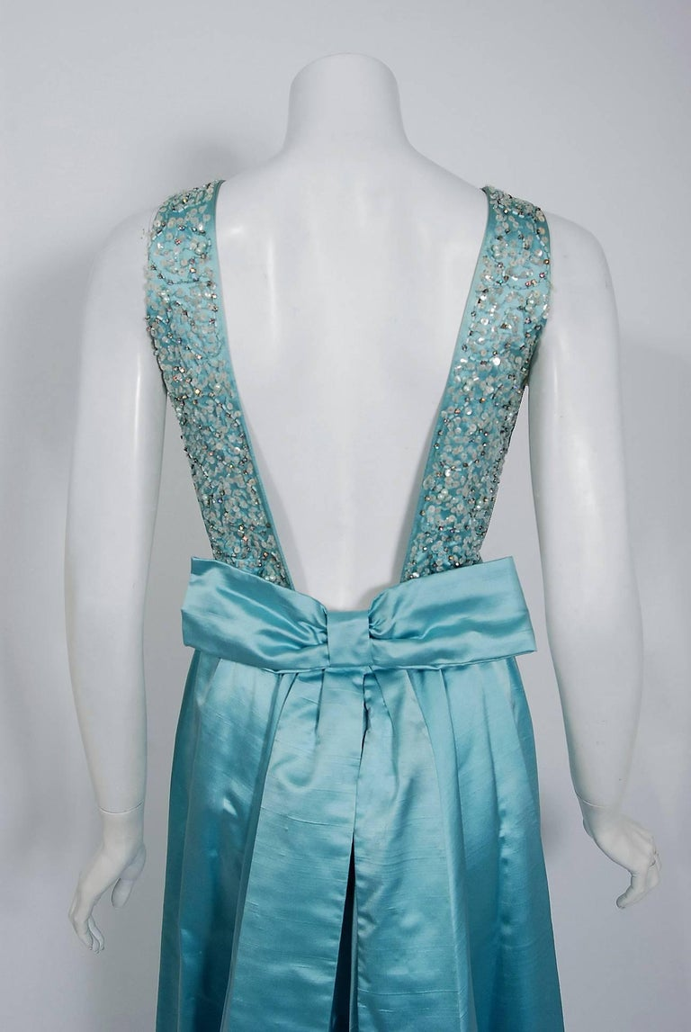 1961 Charles Cooper Couture Aqua-Blue Beaded Satin Backless Gown & Coat Ensemble For Sale 1