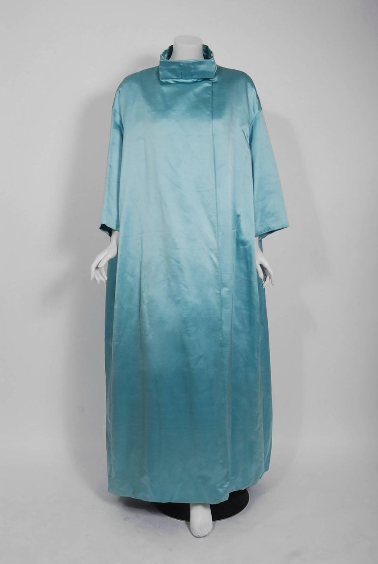 1961 Charles Cooper Couture Aqua-Blue Beaded Satin Backless Gown & Coat Ensemble For Sale 2