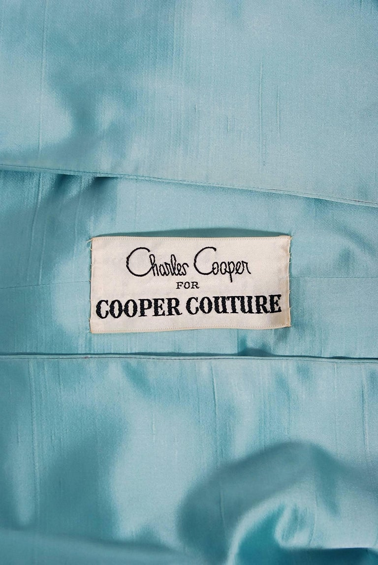 1961 Charles Cooper Couture Aqua-Blue Beaded Satin Backless Gown & Coat Ensemble For Sale 5