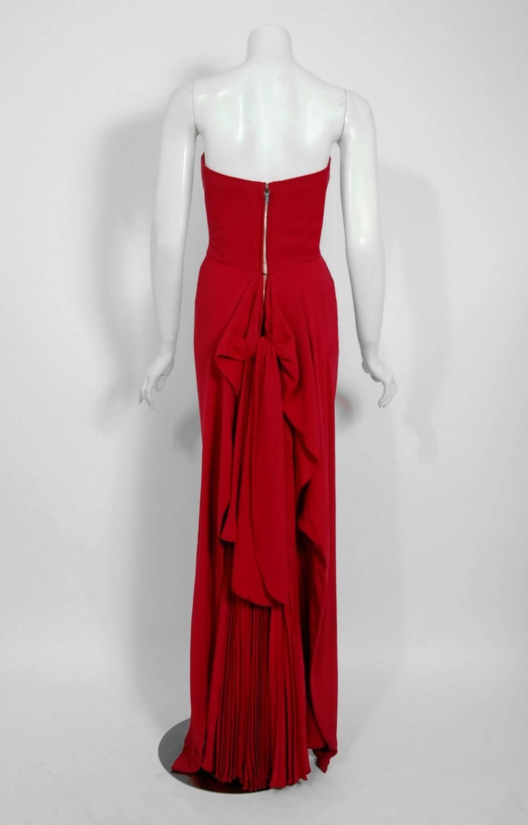1940's Couture Raspberry Red Pleated Silk Strapless Pleated Back-Bustle Gown  For Sale 2