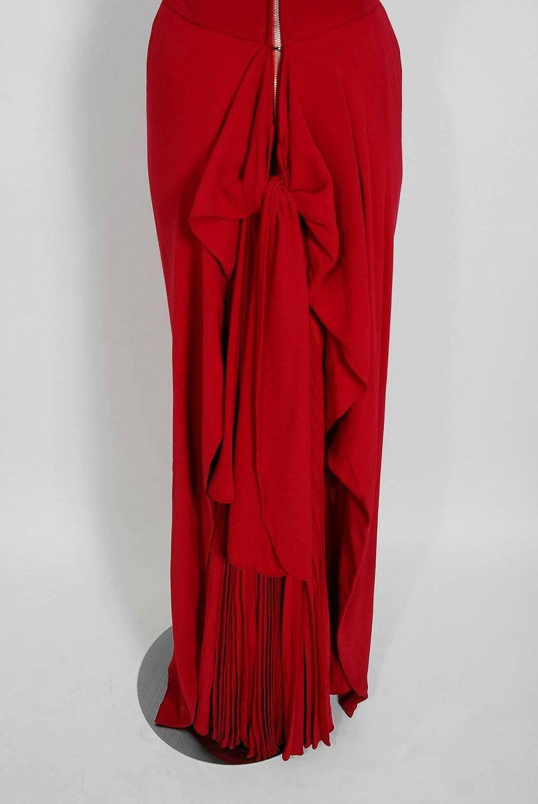 1940's Couture Raspberry Red Pleated Silk Strapless Pleated Back-Bustle Gown  For Sale 3