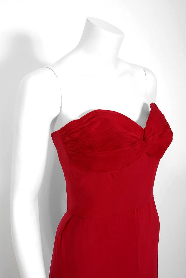 1940's Couture Raspberry Red Pleated Silk Strapless Pleated Back-Bustle Gown  In Good Condition For Sale In Beverly Hills, CA