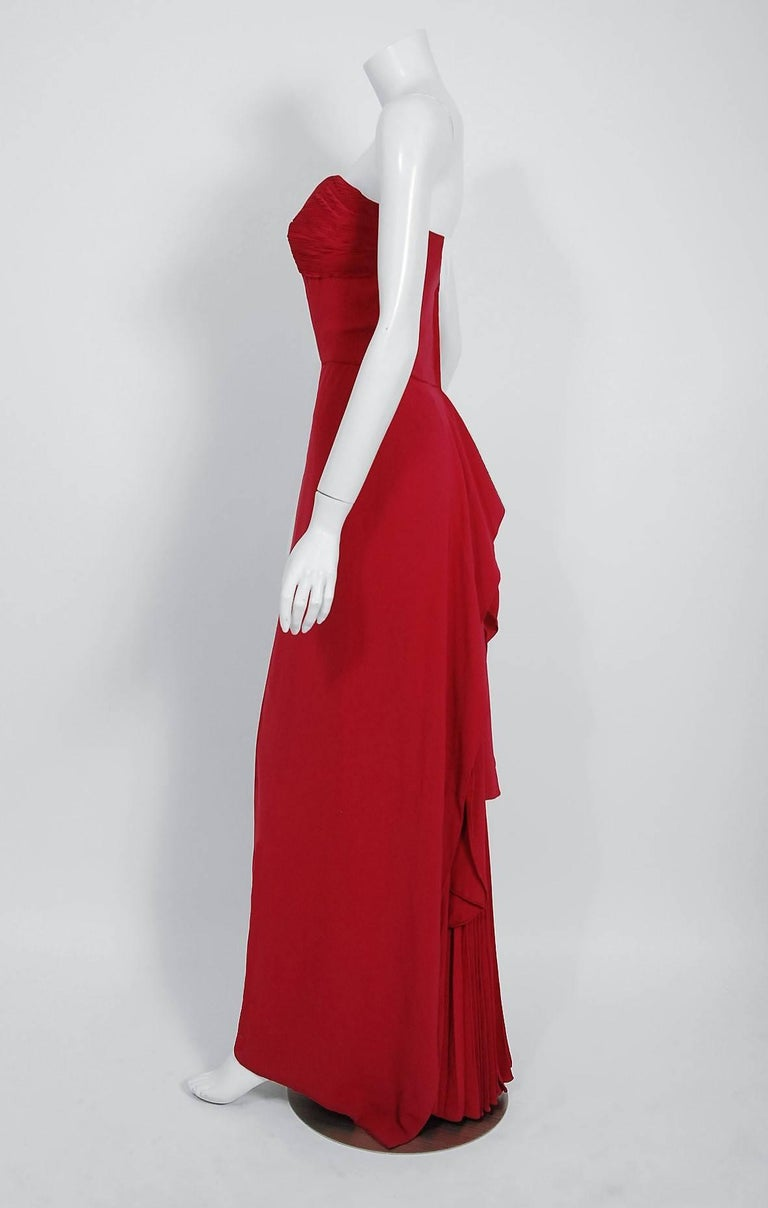 1940's Couture Raspberry Red Pleated Silk Strapless Pleated Back-Bustle Gown  For Sale 1