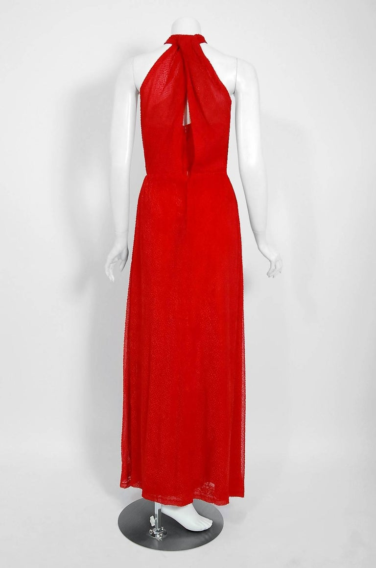 Vintage 1970's Givenchy Red Flecked Silk Draped Criss-Cross Halter Maxi Dress For Sale 2