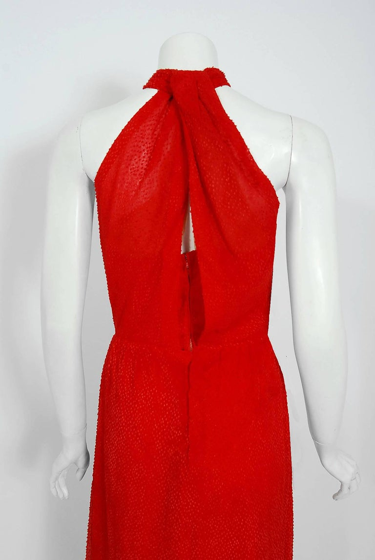 Vintage 1970's Givenchy Red Flecked Silk Draped Criss-Cross Halter Maxi Dress For Sale 3
