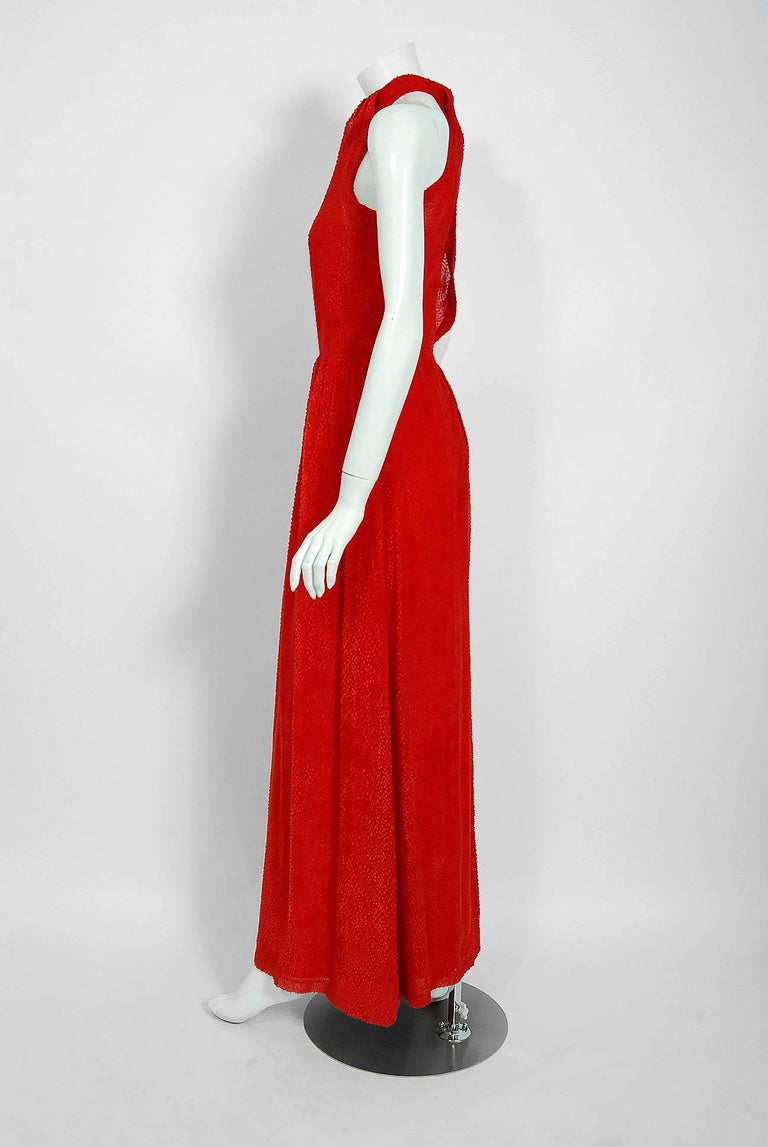 Vintage 1970's Givenchy Red Flecked Silk Draped Criss-Cross Halter Maxi Dress For Sale 1