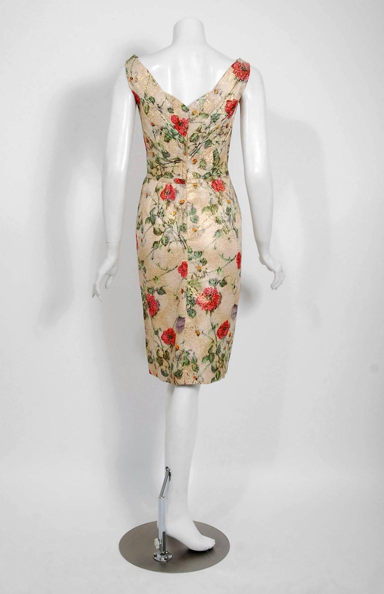 Women's 1950's Ceil Chapman Metallic Floral Silk-Brocade Ruched Hourglass Cocktail Dress