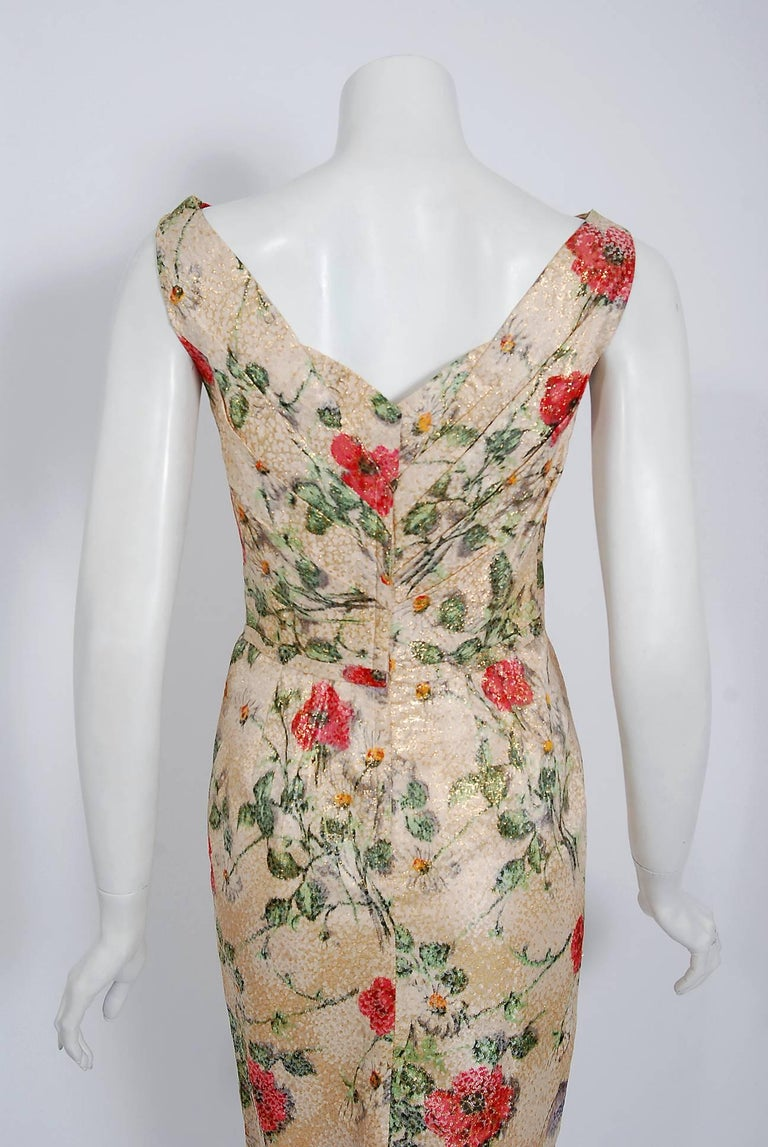 1950's Ceil Chapman Metallic Floral Silk-Brocade Ruched Hourglass Cocktail Dress 1