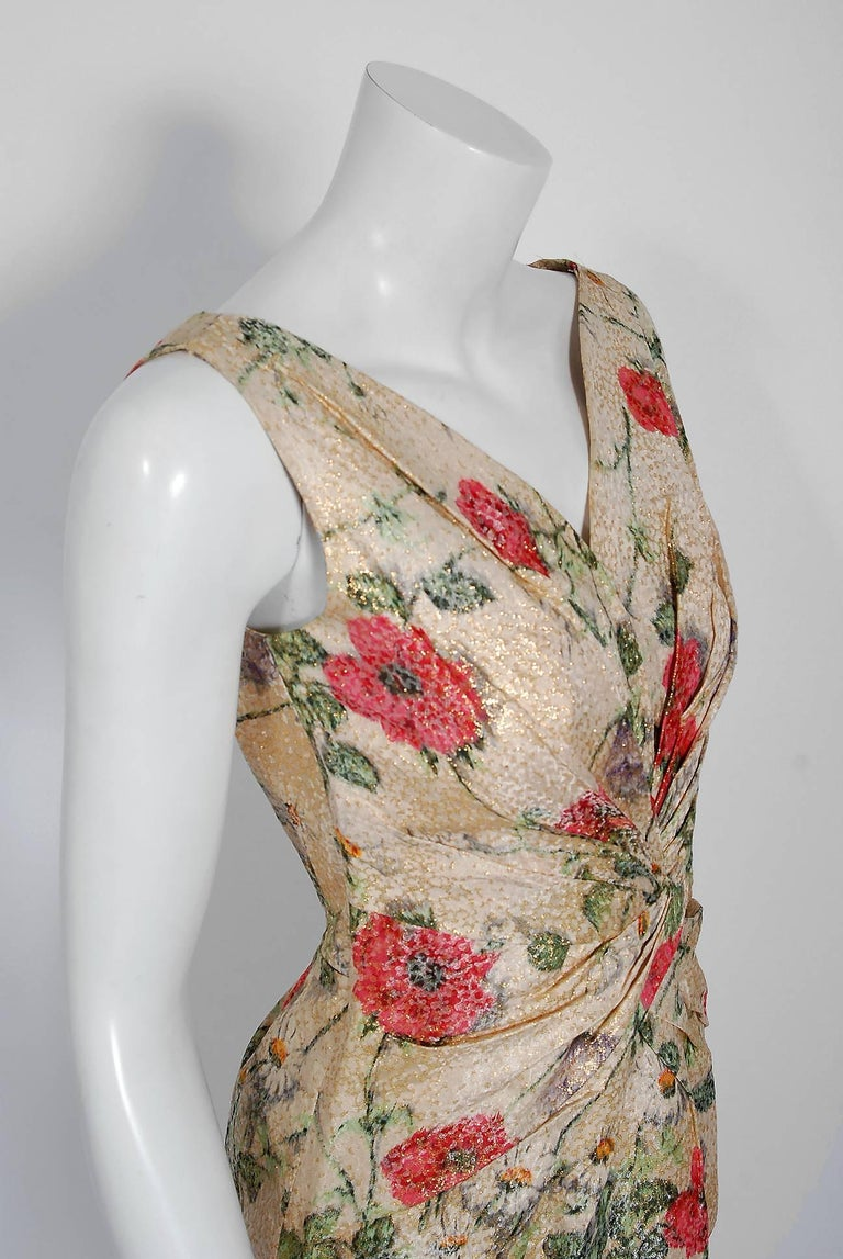 Beige 1950's Ceil Chapman Metallic Floral Silk-Brocade Ruched Hourglass Cocktail Dress