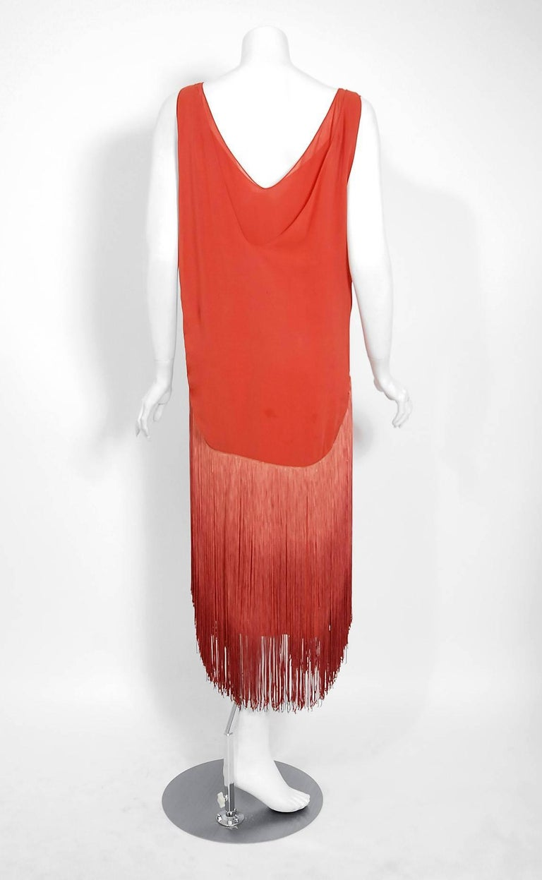 Women's 1920's Cinnamon Silk-Chiffon Sculpted Ombre Fringe Sleeveless Flapper Dress For Sale