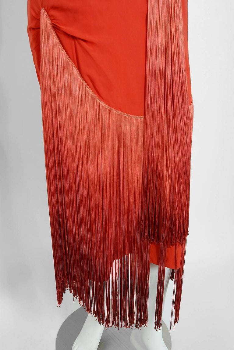 1920's Cinnamon Silk-Chiffon Sculpted Ombre Fringe Sleeveless Flapper Dress For Sale 1
