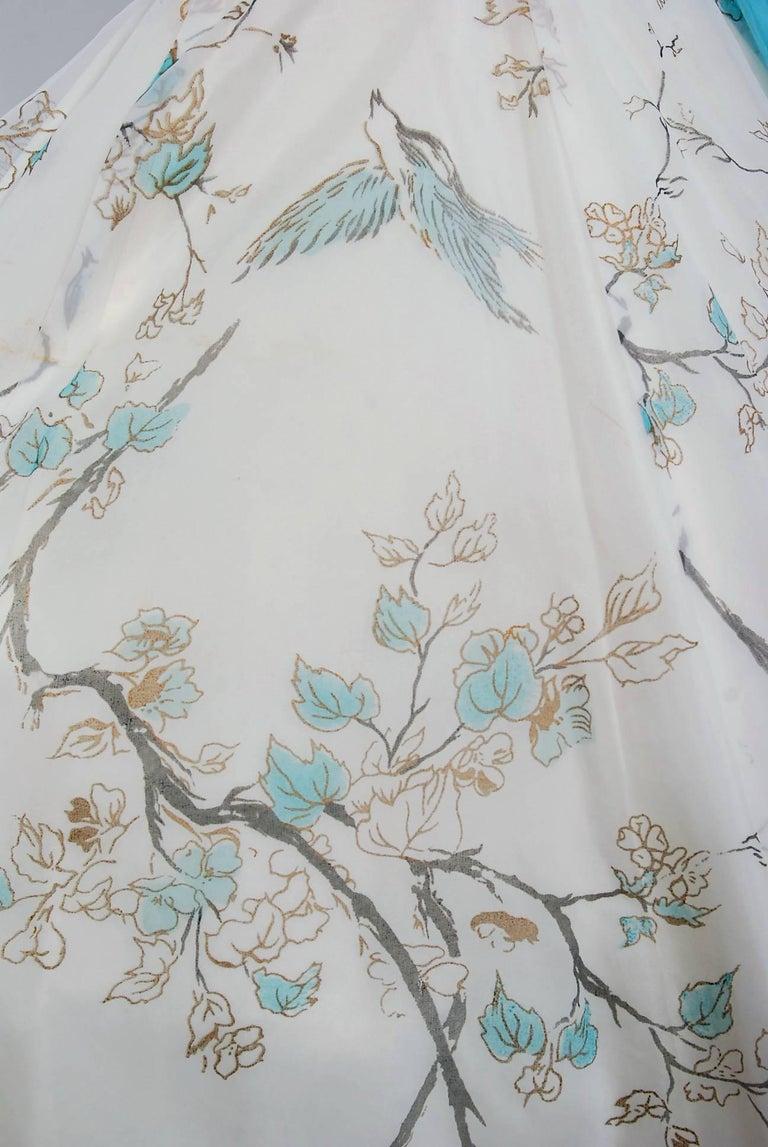 Women's 1950's Sparrow Bird Garden Novelty Print Chiffon Pleated Shelf-Bust Full Dress  For Sale