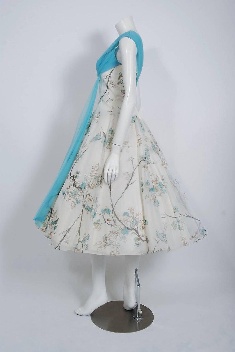 1950's Sparrow Bird Garden Novelty Print Chiffon Pleated Shelf-Bust Full Dress  For Sale 1