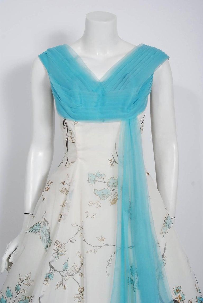 Gray 1950's Sparrow Bird Garden Novelty Print Chiffon Pleated Shelf-Bust Full Dress  For Sale