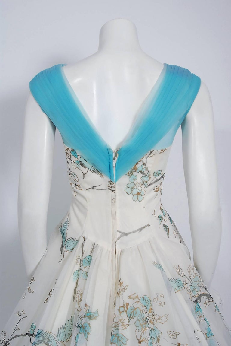 1950's Sparrow Bird Garden Novelty Print Chiffon Pleated Shelf-Bust Full Dress  For Sale 2