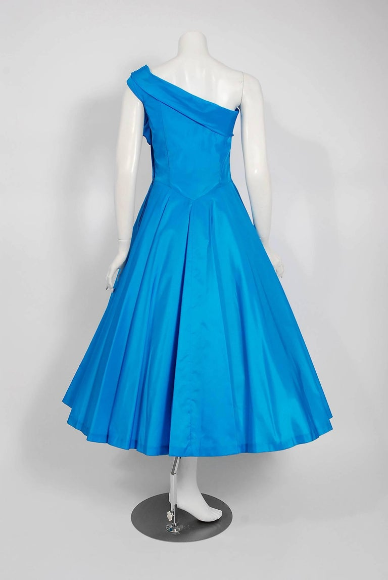 1950's Royal Blue Taffeta One-Shoulder Asymmetric Bow Circle Skirt Party Dress For Sale 1