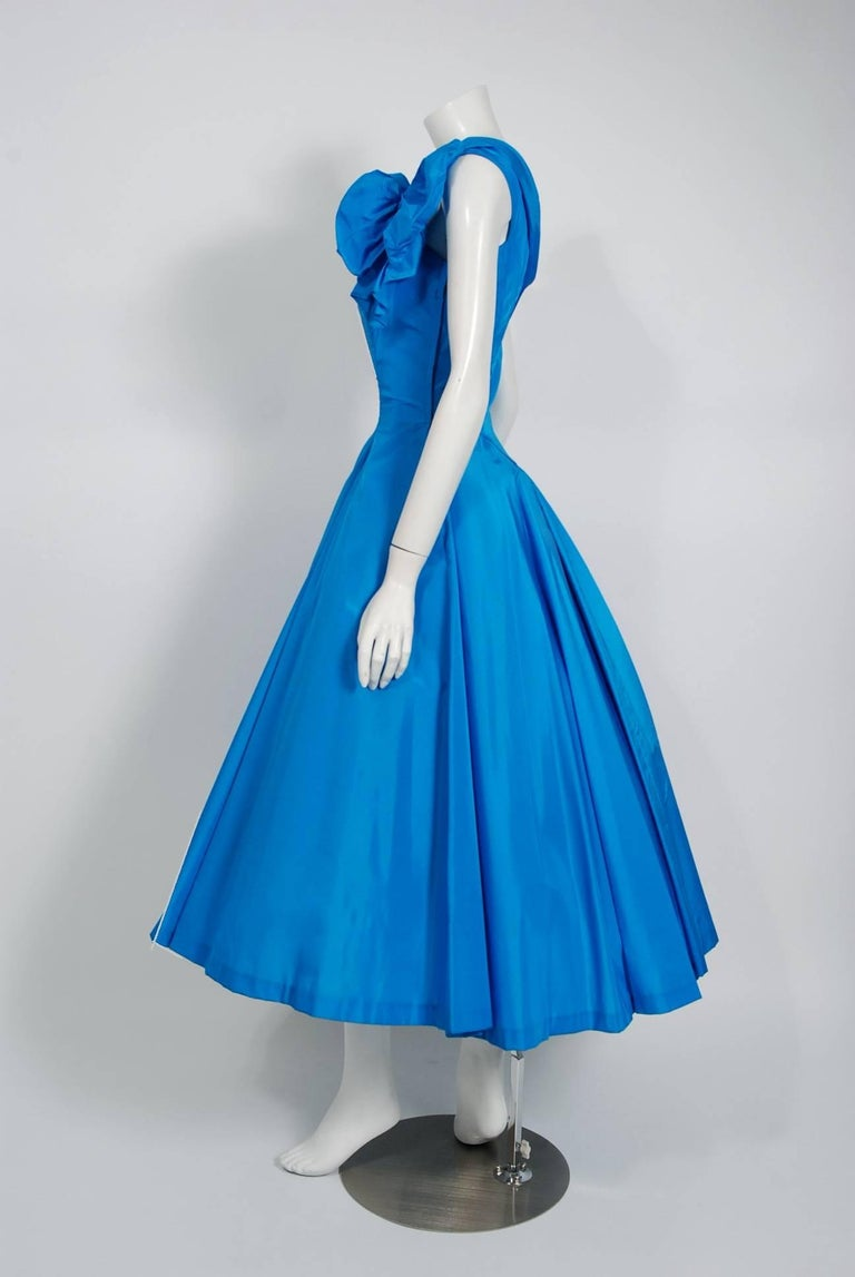 Women's 1950's Royal Blue Taffeta One-Shoulder Asymmetric Bow Circle Skirt Party Dress For Sale