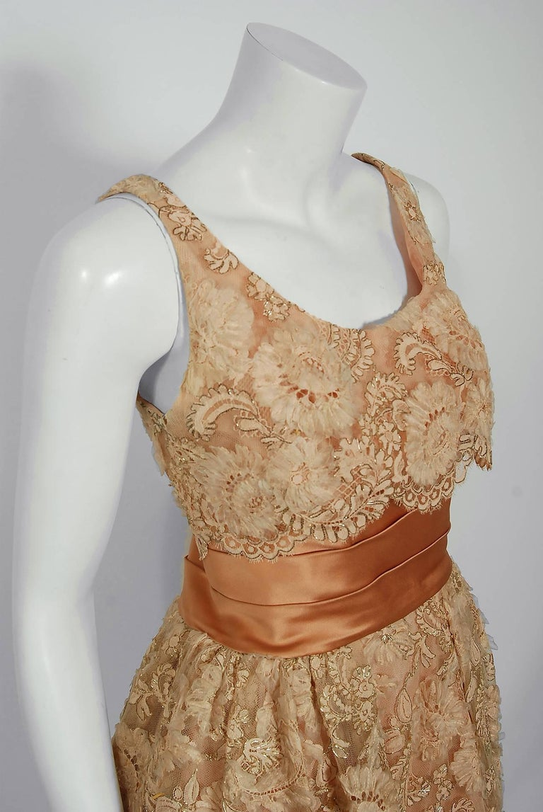 Brown 1950's Rudolf Couture Metallic Peach Lace and Satin Scalloped Full Party Dress For Sale