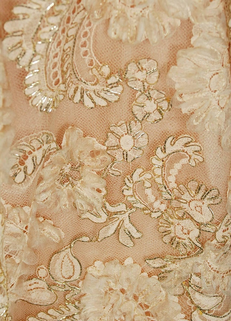 Women's 1950's Rudolf Couture Metallic Peach Lace and Satin Scalloped Full Party Dress For Sale