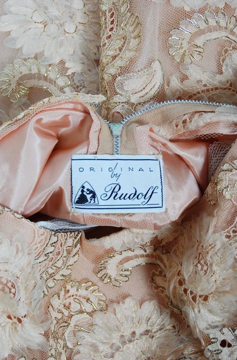 1950's Rudolf Couture Metallic Peach Lace and Satin Scalloped Full Party Dress For Sale 3