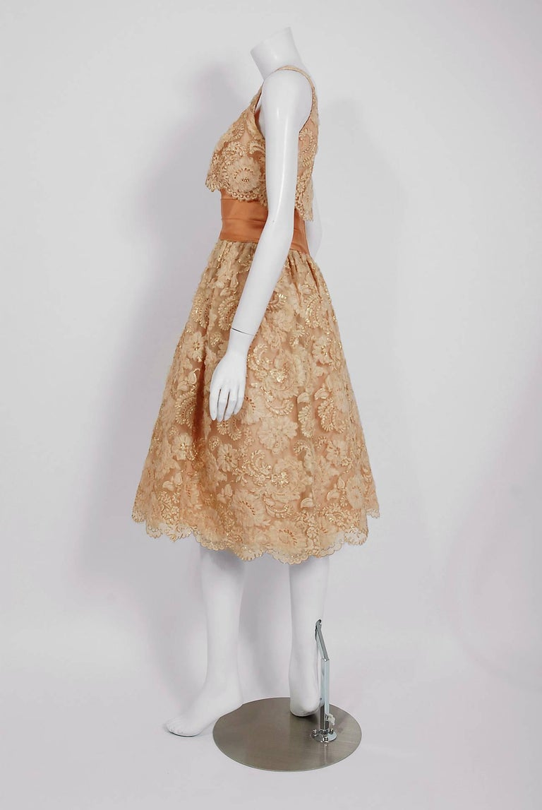 1950's Rudolf Couture Metallic Peach Lace and Satin Scalloped Full Party Dress For Sale 1