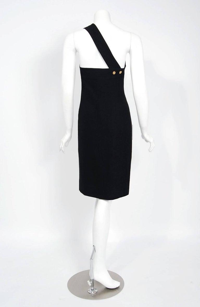 Vintage 1995 Chanel Black Linen One Shoulder Asymmetric Double-Breasted Dress For Sale 2