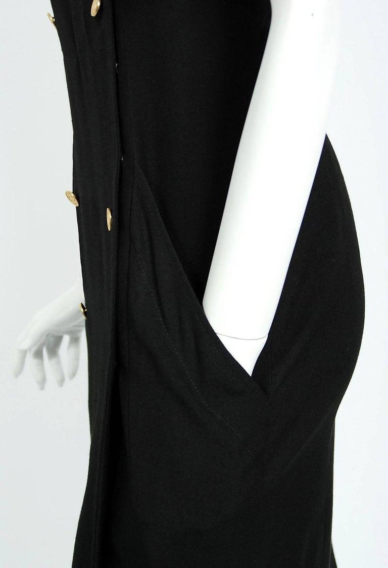 Vintage 1995 Chanel Black Linen One Shoulder Asymmetric Double-Breasted Dress For Sale 1