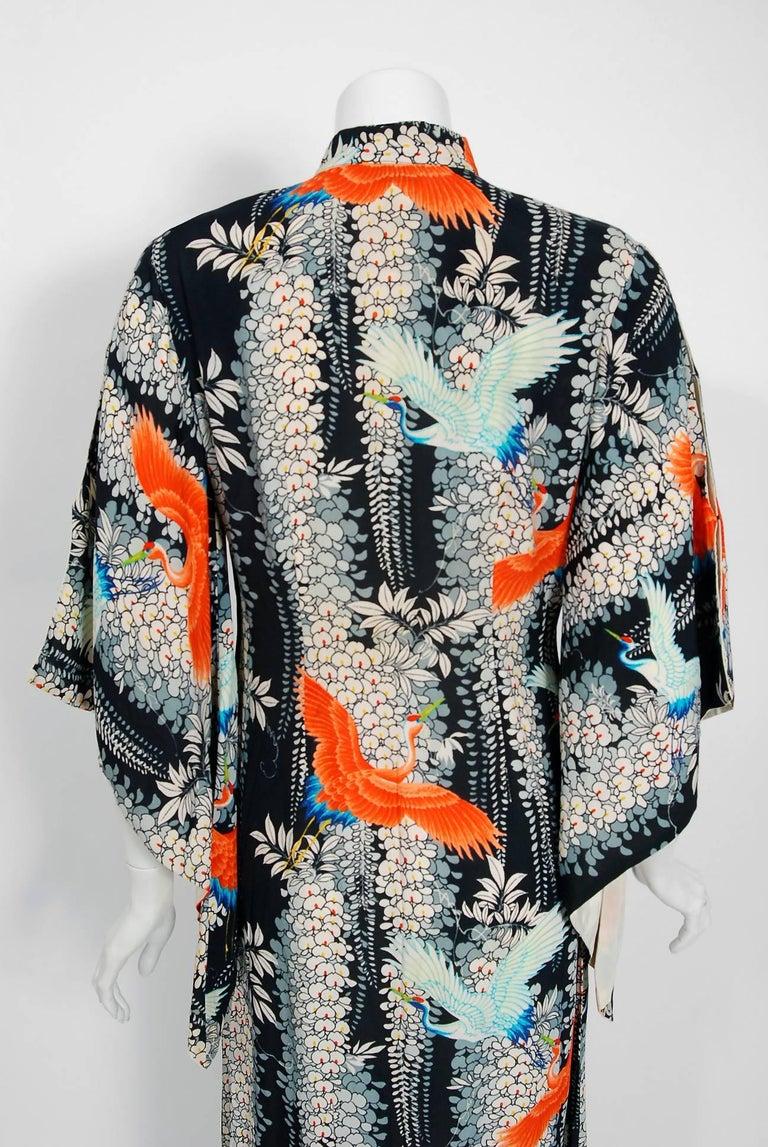 1940's Hawaiian Novelty Crane-Bird Tropical Print Silk Rayon Pake Muu Gown Dress For Sale 4