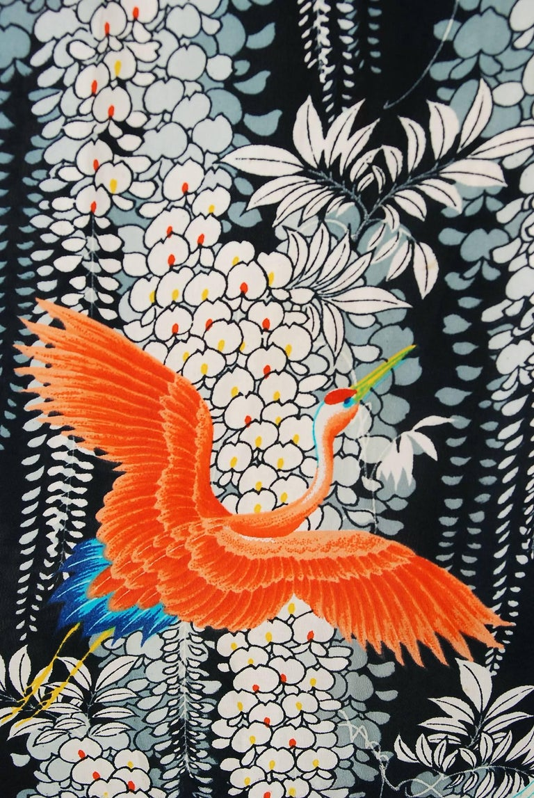 1940's Hawaiian Novelty Crane-Bird Tropical Print Silk Rayon Pake Muu Gown Dress For Sale 1