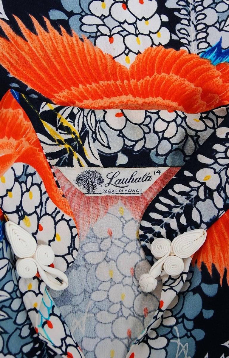 1940's Hawaiian Novelty Crane-Bird Tropical Print Silk Rayon Pake Muu Gown Dress For Sale 5