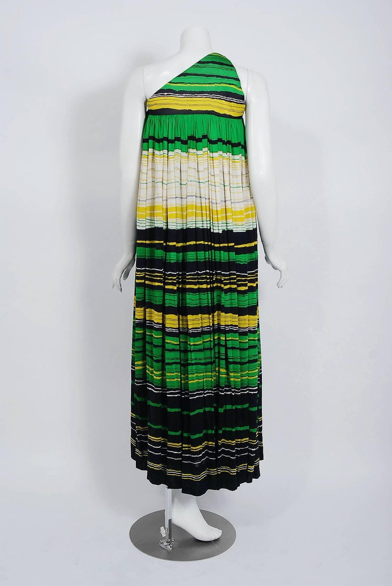 Vintage 1966 Geoffrey Beene Striped Green Yellow Silk Jersey One-Shoulder Dress For Sale 2