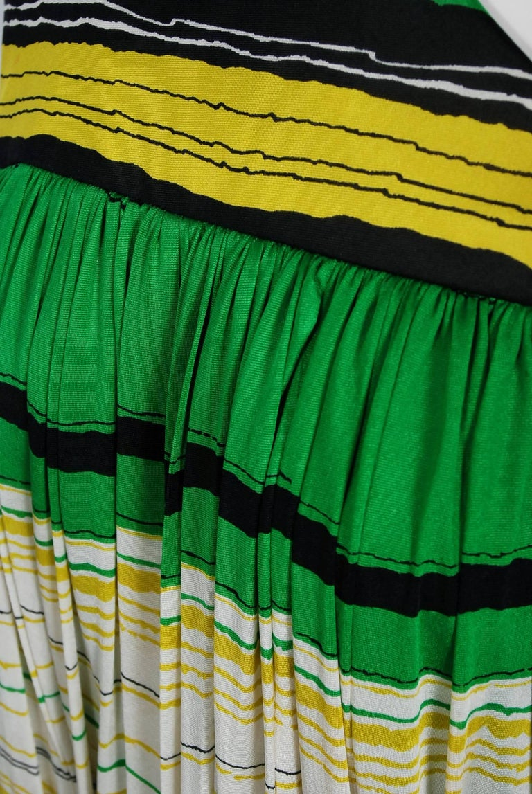 Women's Vintage 1966 Geoffrey Beene Striped Green Yellow Silk Jersey One-Shoulder Dress For Sale