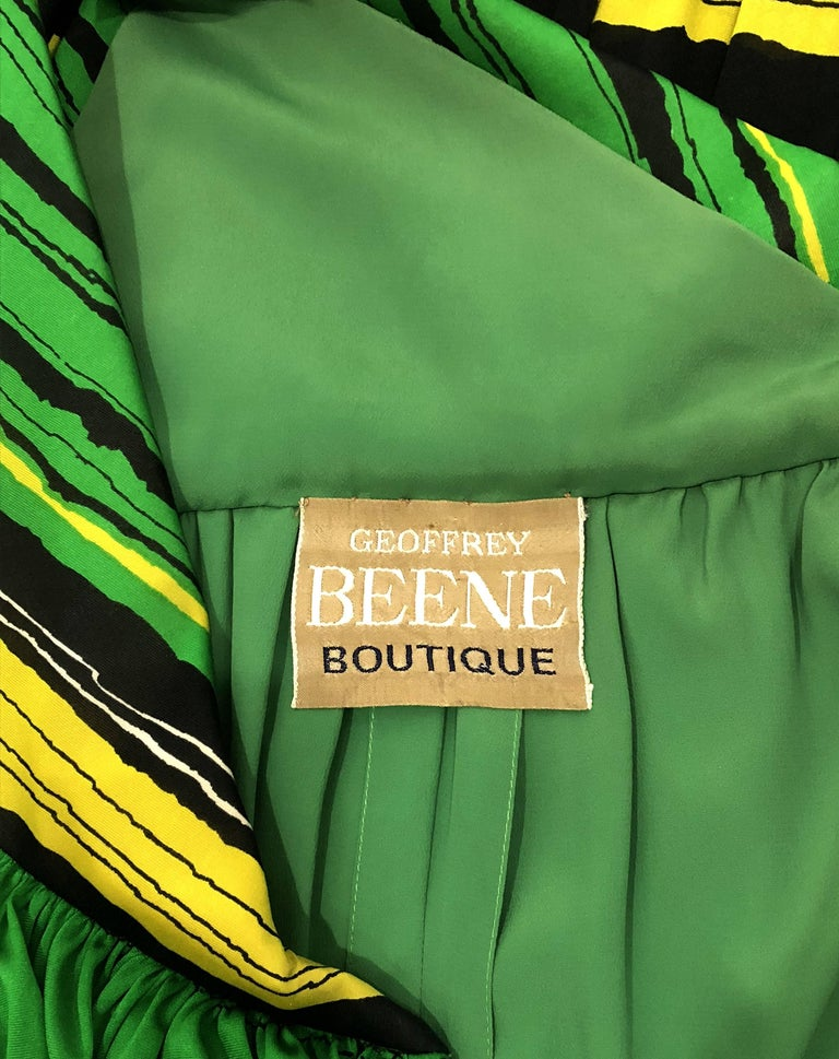 Vintage 1966 Geoffrey Beene Striped Green Yellow Silk Jersey One-Shoulder Dress For Sale 3
