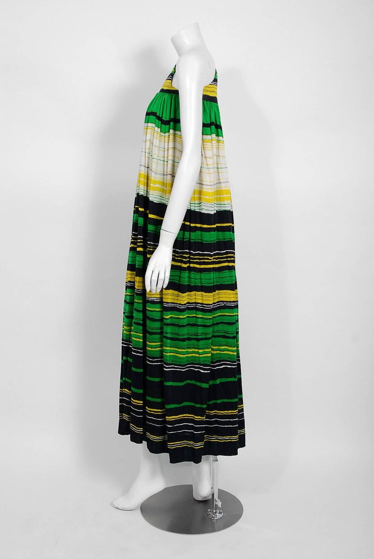 Vintage 1966 Geoffrey Beene Striped Green Yellow Silk Jersey One-Shoulder Dress For Sale 1