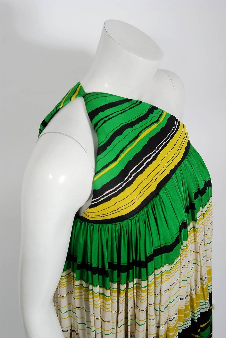 Vintage 1966 Geoffrey Beene Striped Green Yellow Silk Jersey One-Shoulder Dress In Good Condition For Sale In Beverly Hills, CA