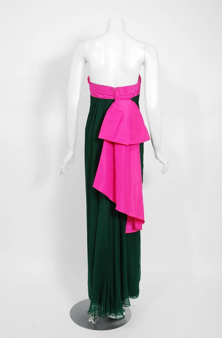 Women's 1962 Helena Barbieri Couture Magenta Silk & Forest Green Chiffon Strapless Gown For Sale