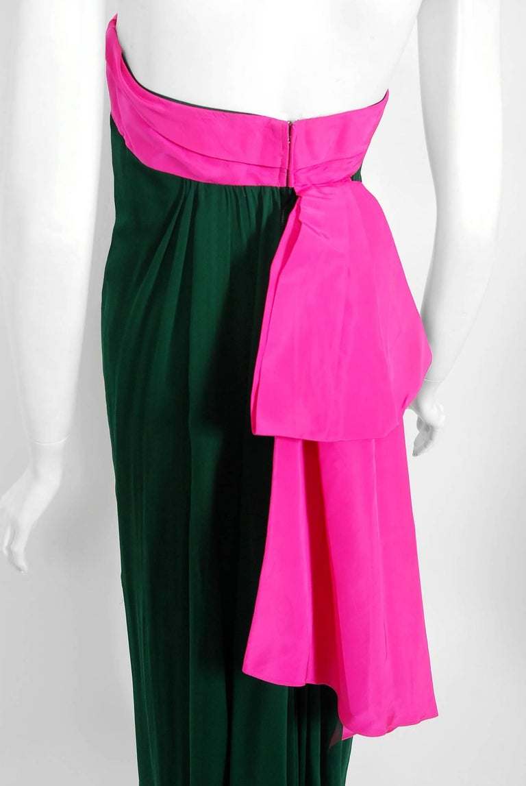 1962 Helena Barbieri Couture Magenta Silk & Forest Green Chiffon Strapless Gown For Sale 1
